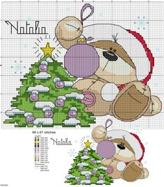 Fizzy Moon Bear - Christmas - Free Patterns Enjoy these free Christmas themed patterns featuring Fizzy Moon Bear. Most of them have color . Xmas Cross Stitch, Beaded Cross Stitch, Cross Stitching, Cross Stitch Embroidery, Funny Cross Stitch Patterns, Cross Stitch Designs, Fizzy Moon, Bordados E Cia, Christmas Cross