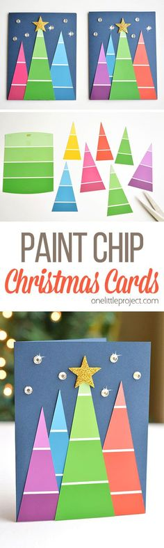 These paint chip Christmas cards are SO BEAUTIFUL and they're really easy to make! They're so simple, but end up looking amazing! Such a great homemade Christmas card idea! | One Little Project