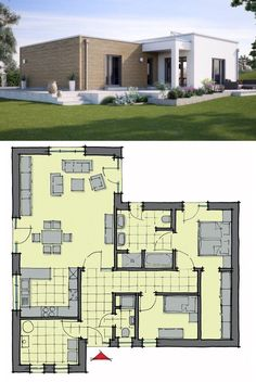 """One Floor House Plan Architecture Design """"Bungalow Venetien"""" with Flat Roof ., - One Floor House Plan Architecture Design """"Bungalow Venetien"""" with Flat Roof …, - Flat Roof House Designs, House Roof Design, Modern House Design, Modern Houses, Modern House Floor Plans, Bungalow House Plans, Contemporary House Plans, Modern Contemporary, Duplex House"""
