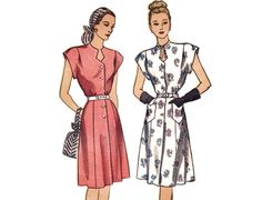40s Dress Pattern, Simplicity 1684, Cap Sleeve Day Dress, Shaped Keyhole Neckline, Chevron Pockets, 1946 Vintage Sewing Pattern Bust 38