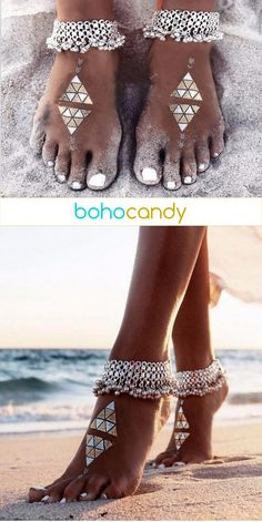 Love love LOVE... boho / hippie / gypsy style silver bead anklets. Get them today at https://www.bohocandy.com/collections/anklets/products/vanita-silver-bead-anklet