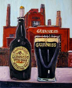 """Year of Beer Paintings, 01.09, Guinness. Oil on panel, 8""""x10""""."""