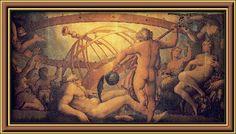 Castración de Urano por Cronos, su hijo, el cual lo destrona (el cual, a su vez, será destronado por su hijo Zeus)