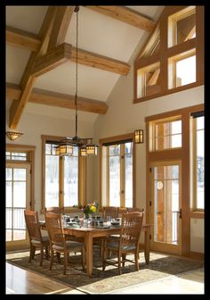 Unwind in the tranquility of the wilderness with a custom log home from Town+Country Cedar Homes. Dining Room Light Fixtures, Dining Room Lighting, Cedar Homes, Log Homes, Log Cabin Living, Ranch Remodel, Dream Decor, Dream Rooms, Beautiful Interiors