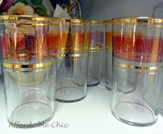 Red and gold tea glasses.