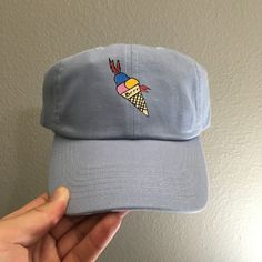 Gucci Mane Icecream cone - baby blue yellow Strap Back hat dad caps  a2de2564728d
