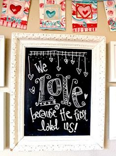Art by Erin Leigh: DIY Mixed Media Valentine's Day banner. Chalkboard Writing, Chalkboard Lettering, Chalkboard Designs, Chalkboard Ideas, Chalkboard Quotes, Chalkboard Pictures, Blackboard Drawing, Chalkboard Walls, Kitchen Chalkboard