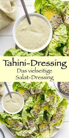 Many delicious ingredients make a delicious tahini vinaigrette. Tempeh, Tofu, Pasta Recipes, Salad Recipes, Grilled Fruit, Vegetarian Recipes, Healthy Recipes, Nutritious Snacks, Tahini Dressing