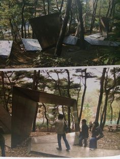 1. structures (exhibit kiosks, tables, chairs, cabinets, benches) that are supported by a solid base / 2. Kengo Kuma & Associates / 3. Exhibit Design: High Impact Solutions / 4. They Used paper to make their exhibit structures. This complexity structure was a solid base structure.