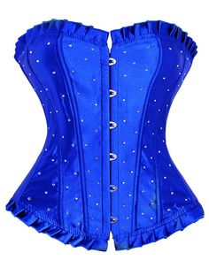 Womens Bustier Corset with Lace up Plastic Bone 2X-Large Blue. Matching G-String. Fully adjustable ribbon lace up in the back, adjust to fit your waist. Plastic Boned Corset. Please refer to the sizing info in the description to select the best fitting size and please allow 1-2inches deviation due to manual measurement. Please keep in mind that sizes differ a little for the three patterns. This elegant and fashion corset in choice of 3 patterns can provide firm control that enables you to...