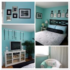 This was the color scheme of my room in college. Always loved this shade of blue with black and white.