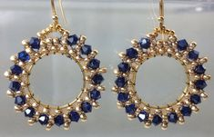 Items similar to Gold hoops beaded elegant earrings dark sapphire crystals on Etsy Seed Bead Jewelry, Bead Jewellery, Seed Bead Earrings, Wire Jewelry, Beaded Earrings, Beaded Jewelry, Jewelery, Handmade Jewelry, Diy Schmuck