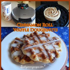 Cinnamon Roll Waffle Doughnuts in a flash-forgetabouit healthy but yum:) and so so so super easy and able to have hot.