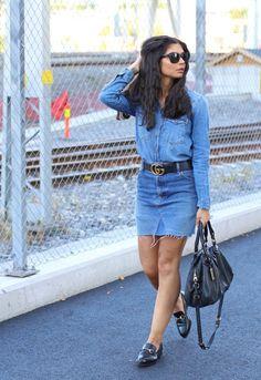 Denim on denim outfit. Denim Outfit, My Outfit, Zara Shirt, Photo Tips, Levis, Denim Skirt, Gucci, Belt, Skirts