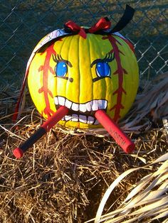 Softball pumpkin, gonna totally do this next year:)