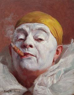 Armand Henrion (Belgium 1875 - France 1958), Clown with Cigar, 1920s oil on panel