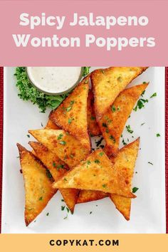 Jalapeno Popper Wontons are great finger food bites for game day or any fun occasion. Get the easy recipe to make the best jalapeno poppers with cream cheese, Cheddar cheese, fresh jalapeno pepper, and wonton wrappers. Deep fried and crispy, these wontons will quickly disappear! #wontons #gamedayfood #easyappetizerrecipes #jalapenos #partyappetizers No Cook Appetizers, Easy Appetizer Recipes, Finger Food Appetizers, Appetizers For Party, Cream Cheese Wontons, Cream Cheese Stuffed Jalapenos, Stuffed Jalapeno Peppers, Gluten Free Wonton Wrappers, Jalapeno Wonton Poppers