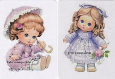 V35 CUTE PAIR swap playing cards MINT COND little girls little dolls dressed up