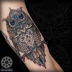 "Coen Mitchell TATTOOGOLD on Instagram: ""Custom mosaic owl"" Love the blue stone effects"