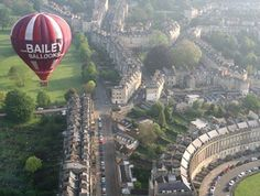 A hot air balloon over the Royal Crescent, Bath