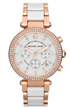 Michael Kors 'Parker' Chronograph Watch, 39mm | Nordstrom White Watches, Rose Gold Jewelry, Gold Jewellery, Michael Kors Watch, Dame, Gold Watch, Rose Gold Plates, Chronograph, Bracelet Watch