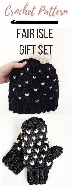 These fair isle crochet mittens and hat set will make a great gift idea. The easy crochet pattern comes in sizes for toddler children and adults. If you've never made crochet mittens these are a great pair to start with. The chunky yarn makes them a quick project. Start checking gifts off the list!