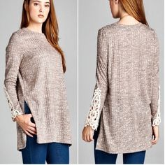 Long sleeve tops Please do not purchase this listing. Comment with size and I will create a new listing for you.    Ribbed sweater top with side slits featuring lace detailing on sleeves. Price is firm unless bundled. Small (2/4) Medium (6/8) Large (10/12) Tops