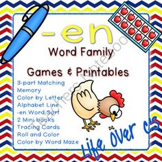 -en Word Family CVC Games/Centers and Worksheets US/UK Versions from Life Over C's on TeachersNotebook.com -  (36 pages)  - 10 fun activities and printables for the the -en CVC word family. Great for word work & literacy centers.