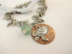 Sea Turtle and Sea Glass Charm Bracelet Beach Lover by YoursTrulli, $22.00