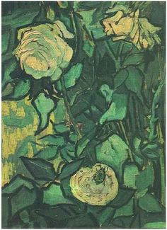 Vincent van Gogh Painting, Oil on Canvas Saint-Rémy: April - May, 1890 Van Gogh Museum Amsterdam, The Netherlands, Europe F: 749, JH: 2012 Image Only - Van Gogh: Roses and Beetle