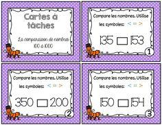 Voici un ensemble de 27 cartes à tâches sur la comparaison des nombres de 100 à 1000. Le document comprend: - 27 cartes à tâches - Une feuille réponse pour l'élève - Le corrigé en 2 formats différents Croissant Décroissant, Math Blocks, Math Numbers, 4th Grade Math, Number Sense, Numeracy, Elementary Math, Math Resources, Teaching Math