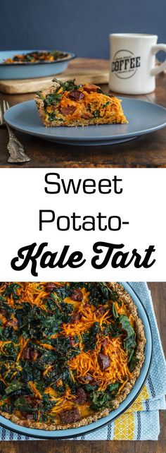 Tasty and easy recipe for a Sweet Potato-Kale Tart with smoked chorizo and a gluten free almond crust. Vegetarian Recipes Dinner, Dinner Recipes, Healthy Recipes, Easy Recipes, Snack Recipes, Snacks, Lactose Free Dinners, Sweet Potato Kale, Warm Food