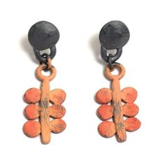 Oxidised sterling silver and hand-painted 'Pink Fruits' drop earrings by Pieces of Eight artist, Natalia Milosz-Piekarska.
