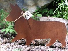 Rusty Finish Pembroke Corgi Metal Garden Art Yard Stake. , via Etsy.