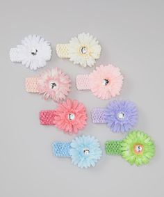 Take+a+look+at+the+Pink+&+Blue+Pastel+Rhinestone+Flower+Crocheted+Headband+Set+on+#zulily+today!