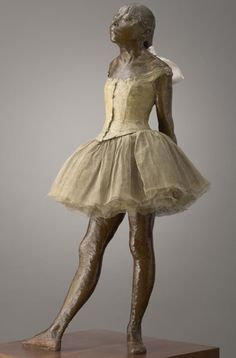 "Degas: ""Little Dancer Aged Fourteen,"" 1879–81. Bronze, gauze tutu and silk ribbon, (wooden base). Sterling and Francine Clark Art Institute, Williamstown, Massachusetts (1955.45)."