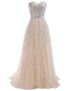 Tidetell 2015 Sweetheart Bridesmaid Long Tulle Evening Party Prom Gowns with Sequins at Amazon Women's Clothing store: