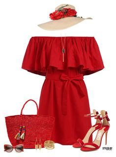 """""""Lady In Red"""" by marion-fashionista-diva-miller ❤ liked on Polyvore featuring Sensi Studio, Salvatore Ferragamo, New Directions, ABS by Allen Schwartz and White House Black Market"""