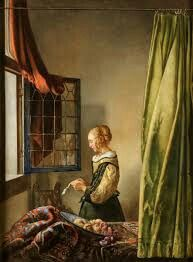 """""""Girl Reading a Letter"""" by Jan Vermeer. Mid 1600's"""