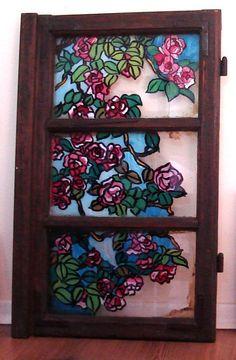rucno oslikan starinski prozor sa kuce mog dede  handpainted old grandfather's window