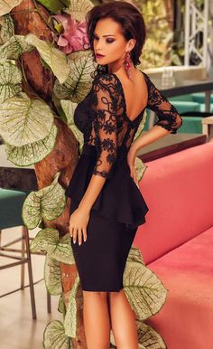 $39.99 Three Quarters Sleeve Embroidery Black Peplum Dress