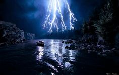 River storm lightening