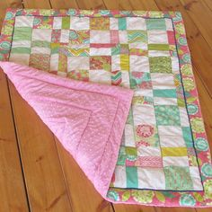 Unique homemade baby girl  quilt  nursery quilt Moda by Sheynale