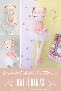 Ballerina Crochet Cat Doll Pattern, Amigurumi Kitty Doll with Tutu and Flowers Pattern, Bailarna Gato Patron Candy Cat from the series of Ballerinas, Amigurumi Crochet Patterns. This is a DOWNLOADABLE TUTORIAL. Written in English.