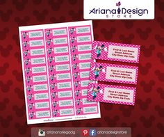 Minnie Mouse Printable Address Labels - Avery 8920 or similar / Minnie Mouse Return Address Labels / Mailing Labels Mickey Mouse, School Labels, Mailing Labels, Invitation Kits, Return Address Labels, Letter Size, My Design, Printables, Lettering