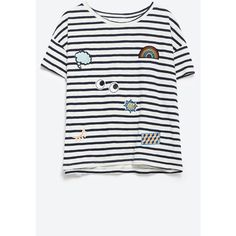 Zara T-Shirt With Patches ($23) ❤ liked on Polyvore featuring tops, t-shirts, white t shirt, zara top, zara t shirts, white top and white tee