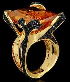 "Mousson Atelier New Age """"Chameleon"""" Gold Citrine & Sapphire Ring R0066-0/3"