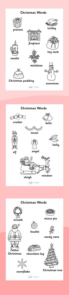 Twinkl Resources >> Christmas Words Colouring Sheets >> Printable resources for Primary, EYFS, KS1 and SEN.  Thousands of classroom displays and teaching aids! Topics, Christmas, Colouring, Activities