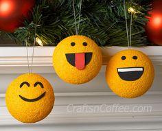 Cute & easy Emoji Ornaments! DIY on CraftsnCoffee.com. #DIY #emoji #ornament #easy #handmade #Christmas #kids #kidscraft #adultcraft #paint #Styrofoamball