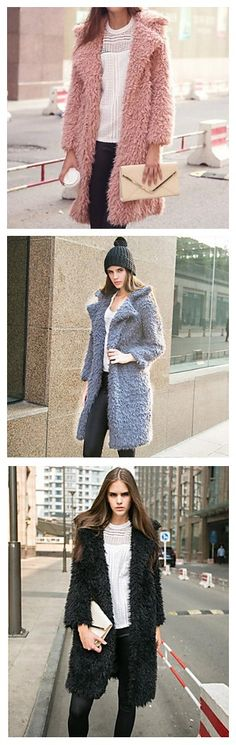 Fluffy long jacket, so warm for this cold winter. Click to see more winter coats and enjoy the mega 11.11 sale!